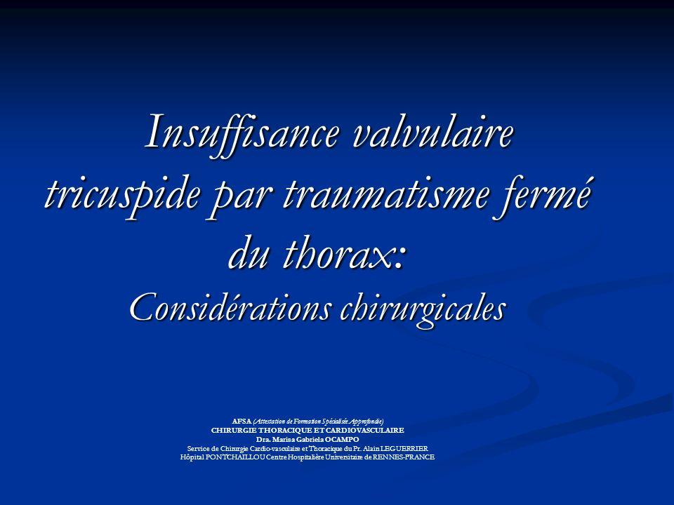 INTRODUCTION Lésion peu fréquente, représente le 3% des valvulopathies traumatiques (1) Lésion peu fréquente, représente le 3% des valvulopathies traumatiques (1) Augmentation des cas publiés : ( 2 ) Augmentation des cas publiés : ( 2 ) -traumatismes thoraciques non pénétrants = 90% des traumas thoraciques Europe-EEUU ( 3 ) -traumatismes thoraciques non pénétrants = 90% des traumas thoraciques Europe-EEUU ( 3 ) -optimisation de lapplication de léchocardiographie.