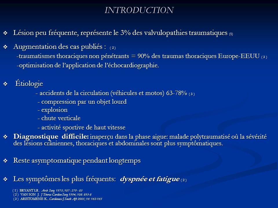 INTRODUCTION Lésion peu fréquente, représente le 3% des valvulopathies traumatiques (1) Lésion peu fréquente, représente le 3% des valvulopathies trau