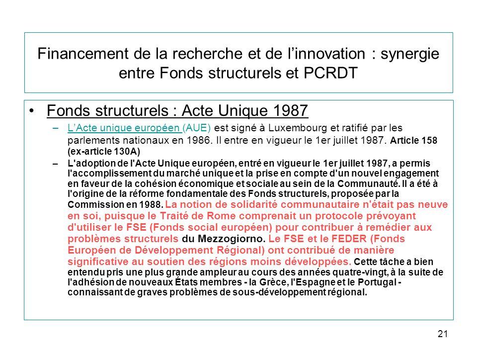 21 Financement de la recherche et de linnovation : synergie entre Fonds structurels et PCRDT Fonds structurels : Acte Unique 1987 –LActe unique européen (AUE) est signé à Luxembourg et ratifié par les parlements nationaux en 1986.