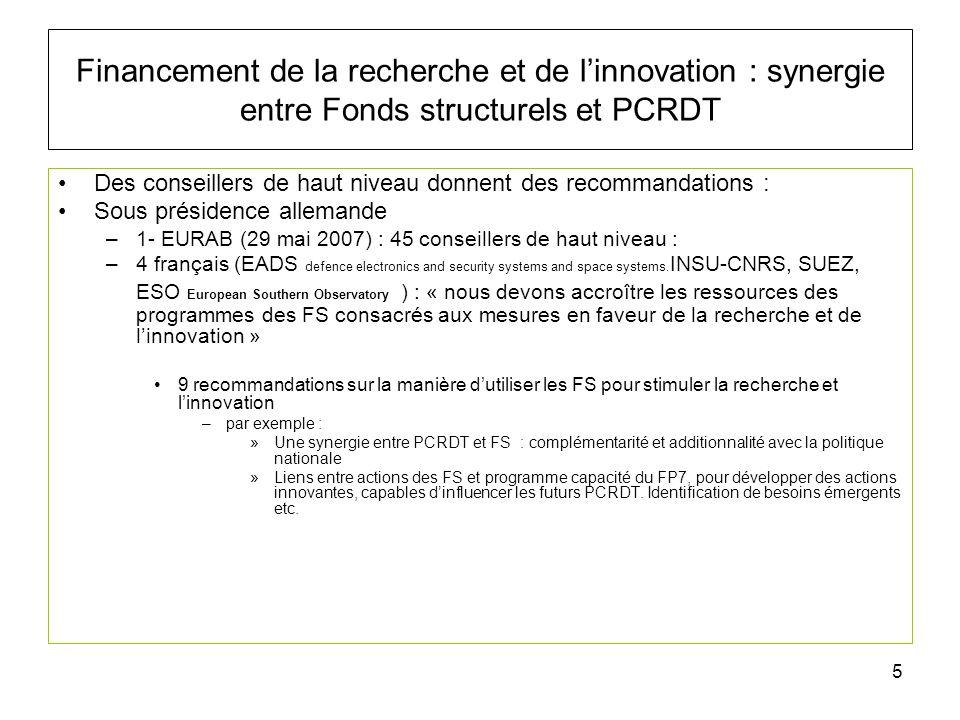 6 Financement de la recherche et de linnovation : synergie entre Fonds structurels et PCRDT 2- CREST (conseil recherche européen pour la science et la technologie) édite 14 recommandations : –Le CREST reconnaît que la Recherche et innovation sont les éléments essentiels de la croissance et de lemploi et préconise Le développement dune stratégie spécifique pour une utilisation coordonnée du PCRDT et des FS.