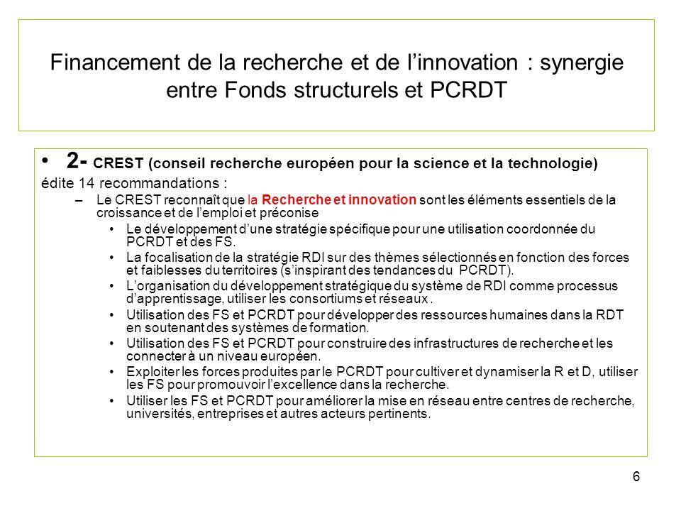 27 Financement de la recherche et de linnovation : synergie entre Fonds structurels et PCRDT Comment les FS peuvent ils stimuler la R et D.