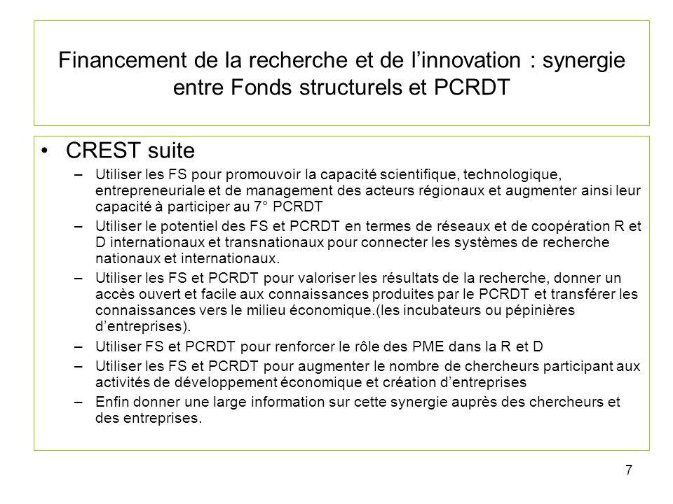 8 Financement de la recherche et de linnovation : synergie entre Fonds structurels et PCRDT Quelle est la partie « politique régionale » du PCRDT Quelle est la partie consacrée au « financement direct ou indirect de la recherche pour linnovation » par les FS