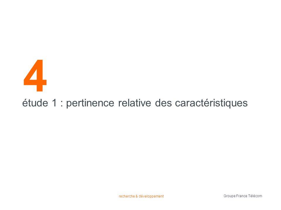 recherche & développement Groupe France Télécom 4 étude 1 : pertinence relative des caractéristiques
