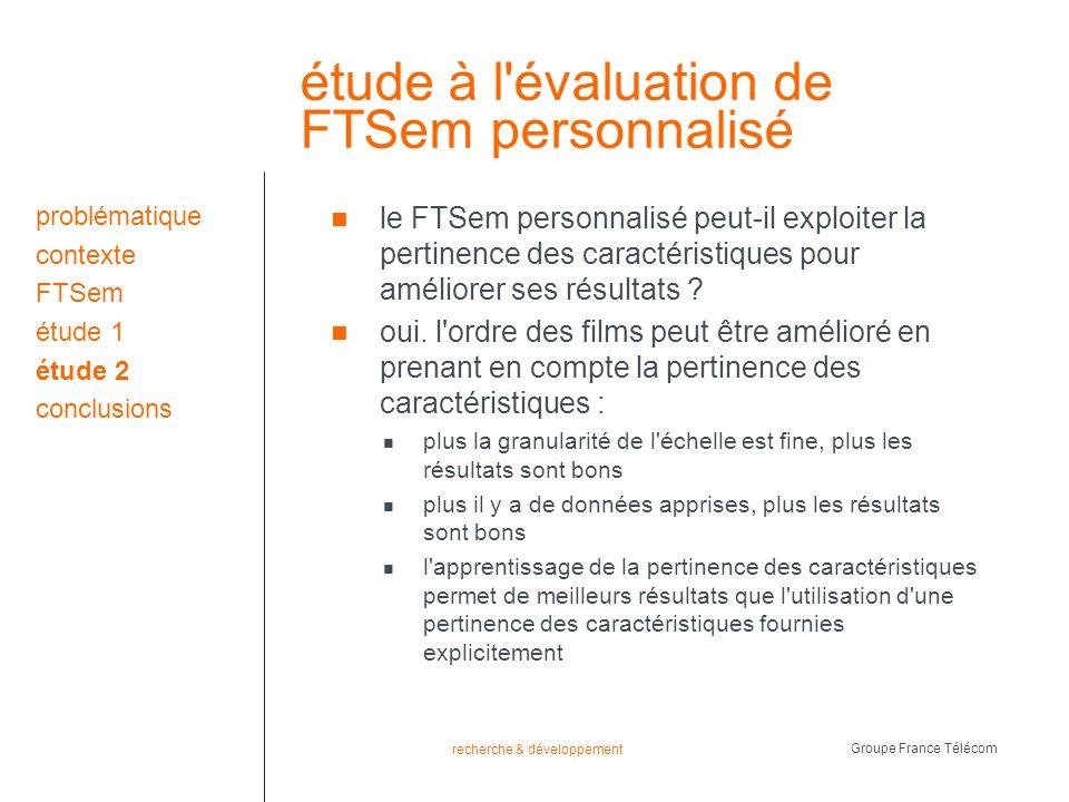 recherche & développement Groupe France Télécom étude à l évaluation de FTSem personnalisé le FTSem personnalisé peut-il exploiter la pertinence des caractéristiques pour améliorer ses résultats .
