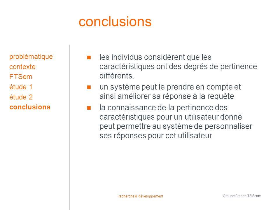 recherche & développement Groupe France Télécom conclusions les individus considèrent que les caractéristiques ont des degrés de pertinence différents.