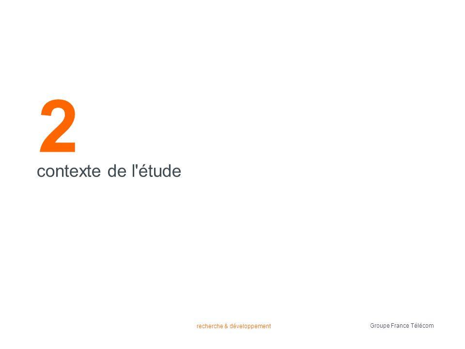 recherche & développement Groupe France Télécom 2 contexte de l étude