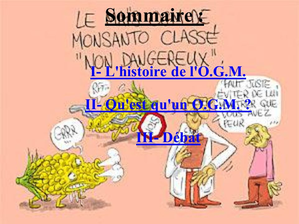Sommaire : I- L'histoire de l'O.G.M. II- Qu'est qu'un O.G.M. ? III- Débat