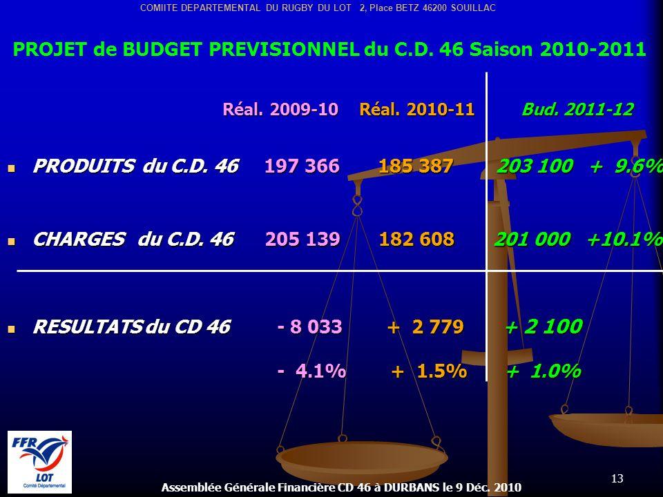 13 Assemblée Générale Financière CD 46 à DURBANS le 9 Déc. 2010 COMIITE DEPARTEMENTAL DU RUGBY DU LOT 2, Place BETZ 46200 SOUILLAC Réal. 2009-10 Réal.