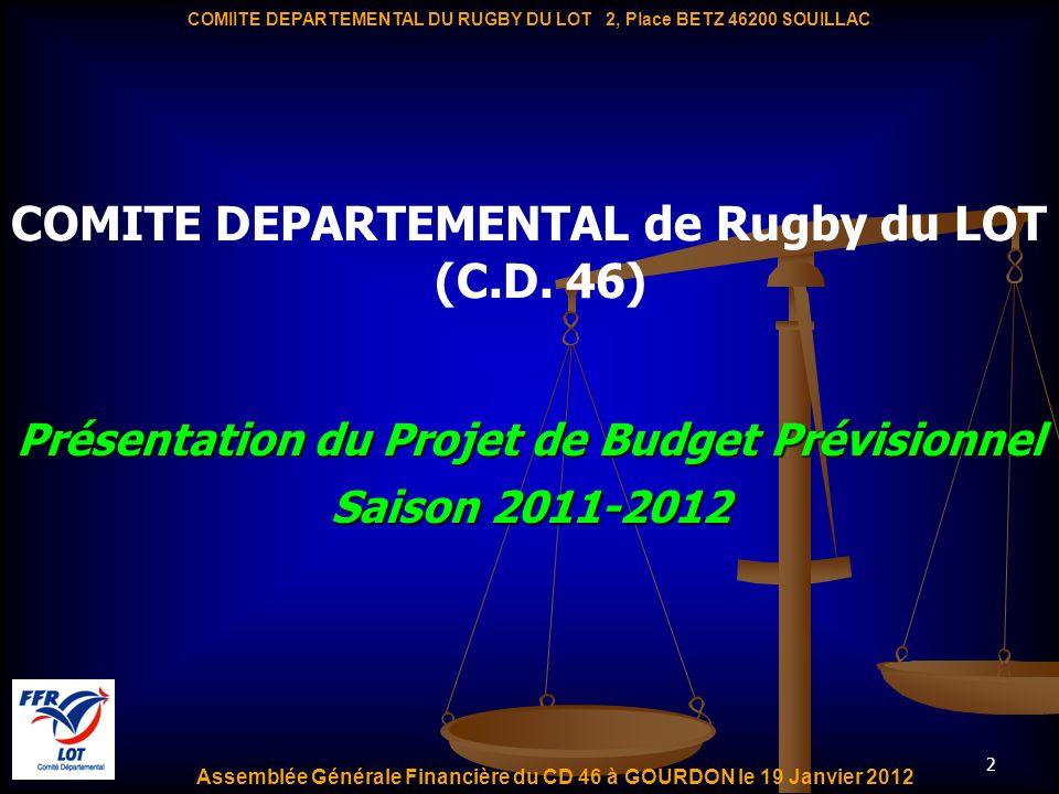 2 Présentation du Projet de Budget Prévisionnel Saison 2011-2012 COMITE DEPARTEMENTAL de Rugby du LOT (C.D. 46) Assemblée Générale Financière du CD 46