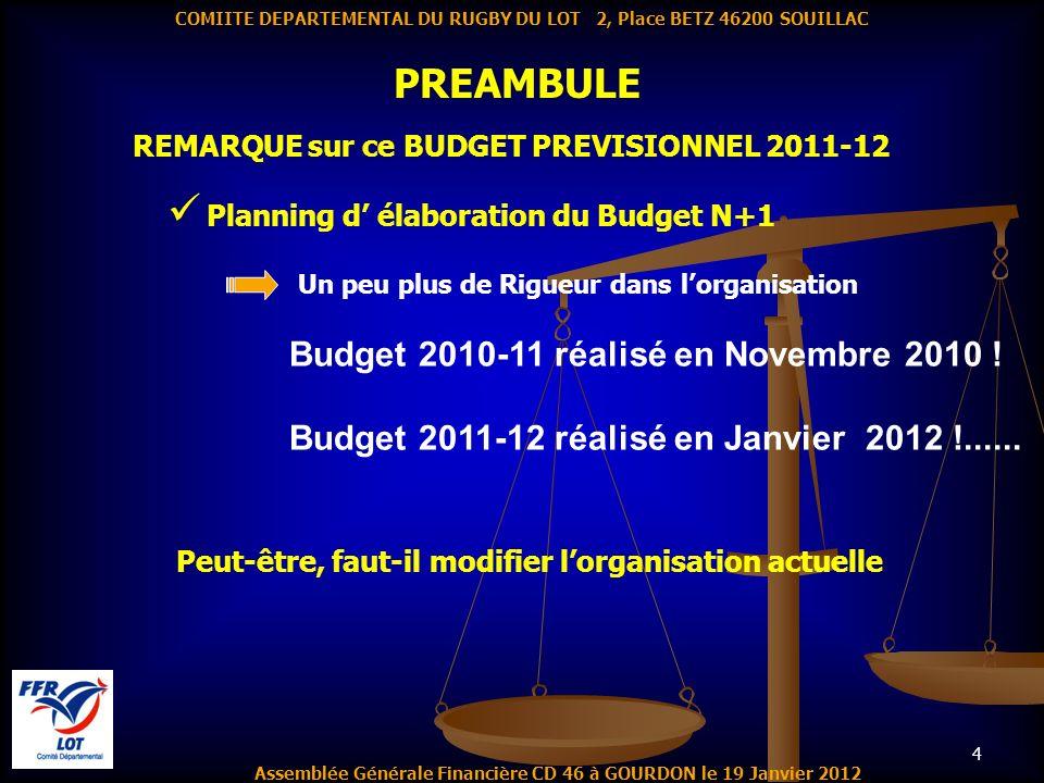4 PREAMBULE Assemblée Générale Financière CD 46 à GOURDON le 19 Janvier 2012 COMIITE DEPARTEMENTAL DU RUGBY DU LOT 2, Place BETZ 46200 SOUILLAC REMARQ