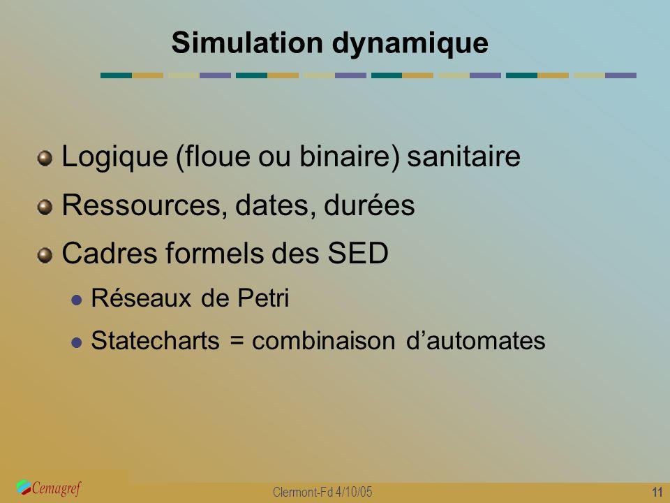 11 Clermont-Fd 4/10/05 Simulation dynamique Logique (floue ou binaire) sanitaire Ressources, dates, durées Cadres formels des SED Réseaux de Petri Sta