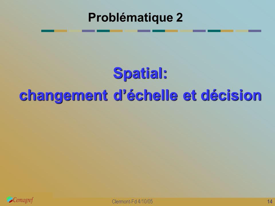 14 Clermont-Fd 4/10/05 Problématique 2 Spatial: changement déchelle et décision
