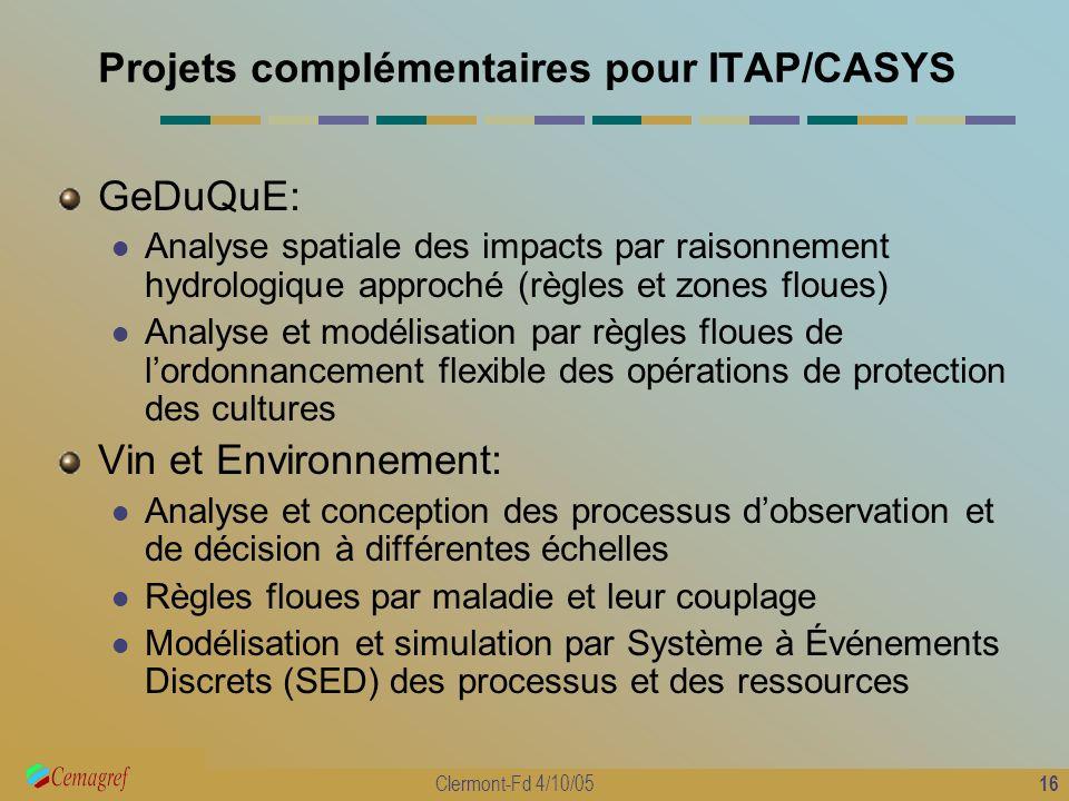 16 Clermont-Fd 4/10/05 Projets complémentaires pour ITAP/CASYS GeDuQuE: Analyse spatiale des impacts par raisonnement hydrologique approché (règles et