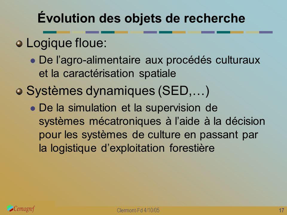 17 Clermont-Fd 4/10/05 Évolution des objets de recherche Logique floue: De lagro-alimentaire aux procédés culturaux et la caractérisation spatiale Sys