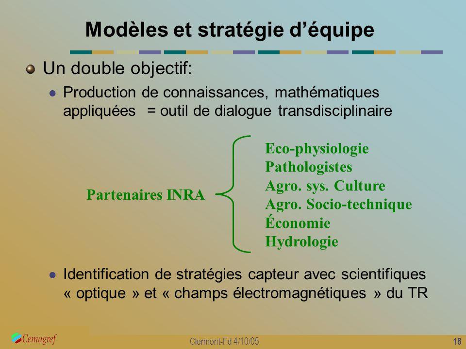 18 Clermont-Fd 4/10/05 Modèles et stratégie déquipe Un double objectif: Production de connaissances, mathématiques appliquées = outil de dialogue tran