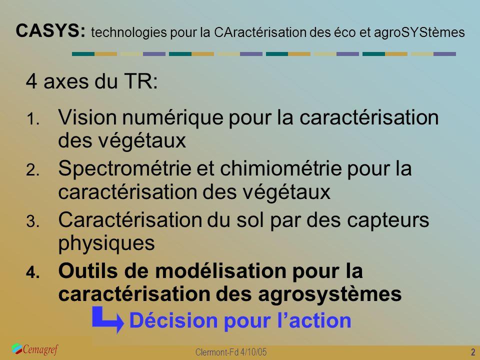2 Clermont-Fd 4/10/05 CASYS: technologies pour la CAractérisation des éco et agroSYStèmes 4 axes du TR: 1. Vision numérique pour la caractérisation de