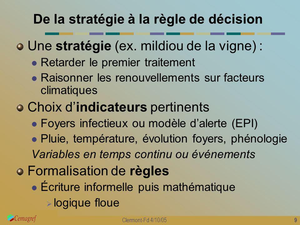 9 Clermont-Fd 4/10/05 De la stratégie à la règle de décision Une stratégie (ex. mildiou de la vigne) : Retarder le premier traitement Raisonner les re