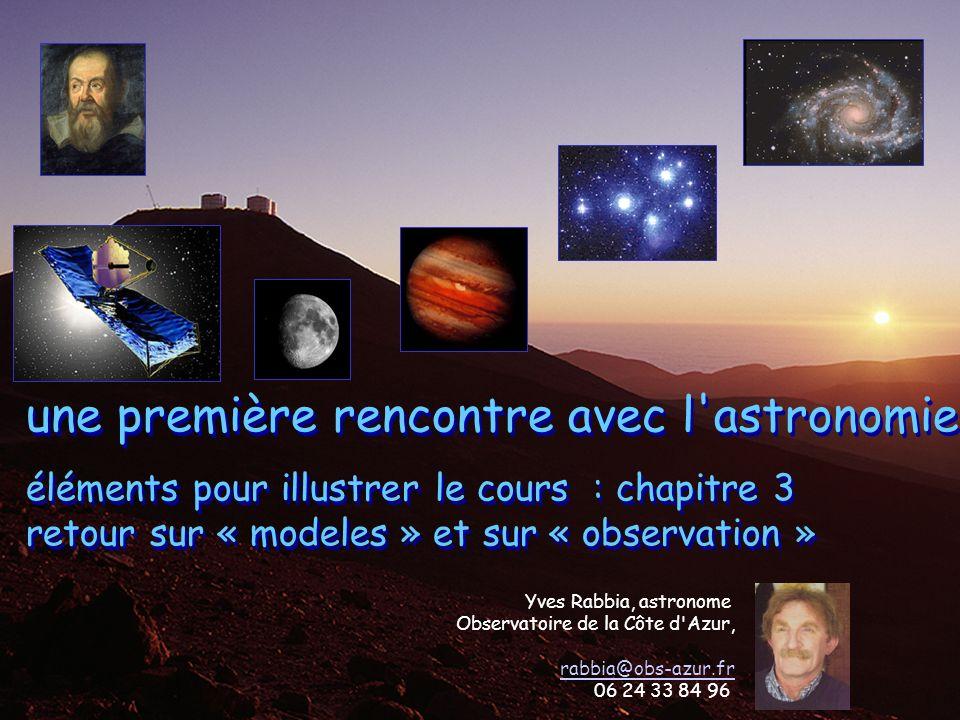 1 UNSA_2012-2013 UEL_rencontre avec astron/astrophys Yves Rabbia, UNSA OCA Lagrange chap3 modeles et obs une première rencontre avec l'astronomie élém