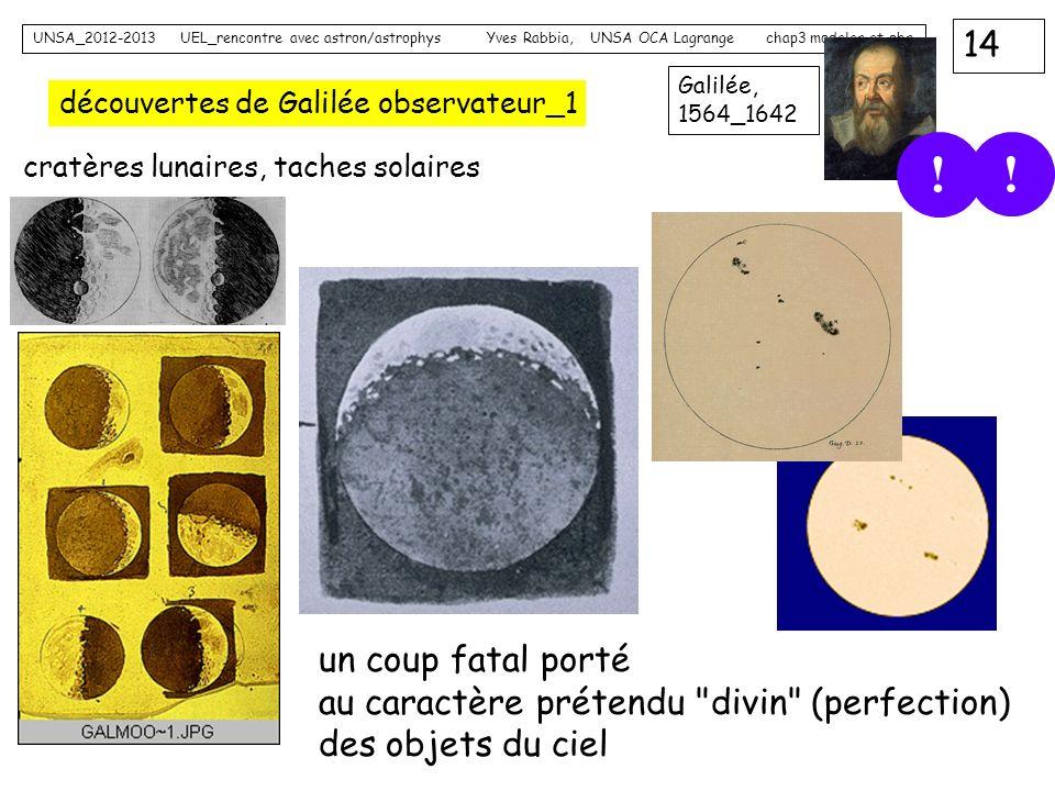 14 UNSA_2012-2013 UEL_rencontre avec astron/astrophys Yves Rabbia, UNSA OCA Lagrange chap3 modeles et obs Galilée, 1564_1642 découvertes de Galilée ob