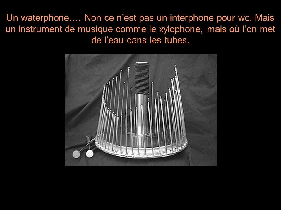 Un waterphone…. Non ce nest pas un interphone pour wc. Mais un instrument de musique comme le xylophone, mais où lon met de leau dans les tubes.