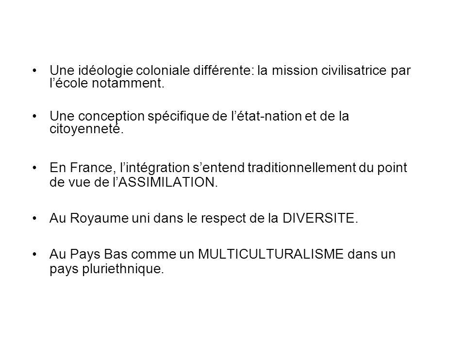 Une idéologie coloniale différente: la mission civilisatrice par lécole notamment.