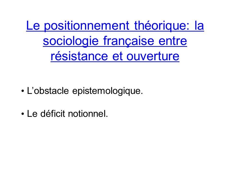 Le positionnement théorique: la sociologie française entre résistance et ouverture Lobstacle epistemologique.