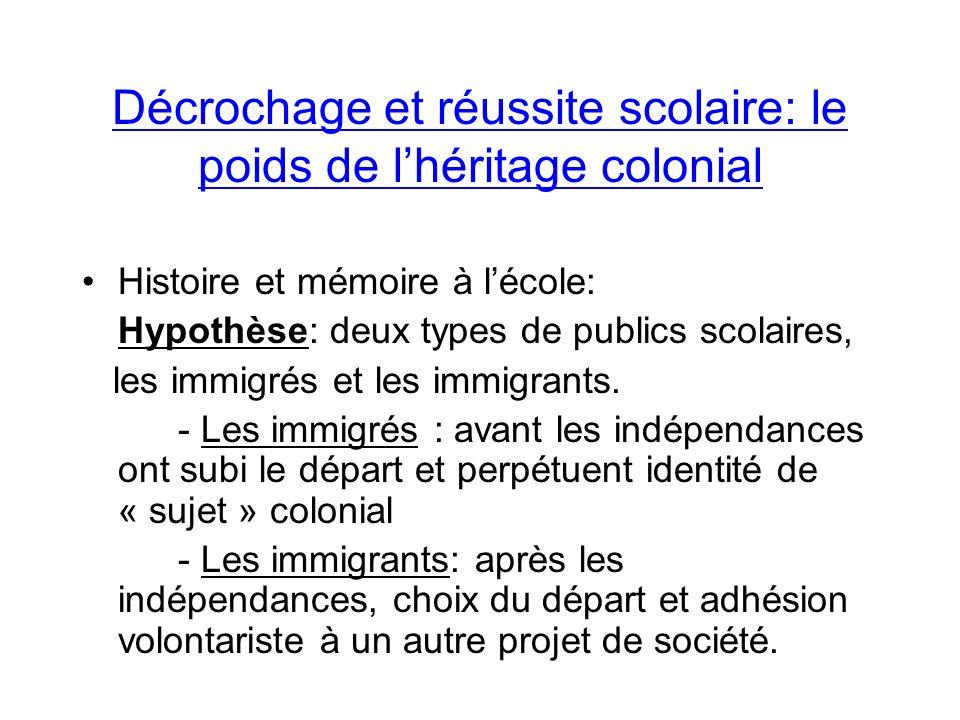 Décrochage et réussite scolaire: le poids de lhéritage colonial Histoire et mémoire à lécole: Hypothèse: deux types de publics scolaires, les immigrés et les immigrants.