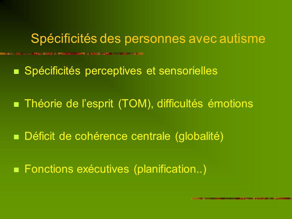 Spécificités des personnes avec autisme