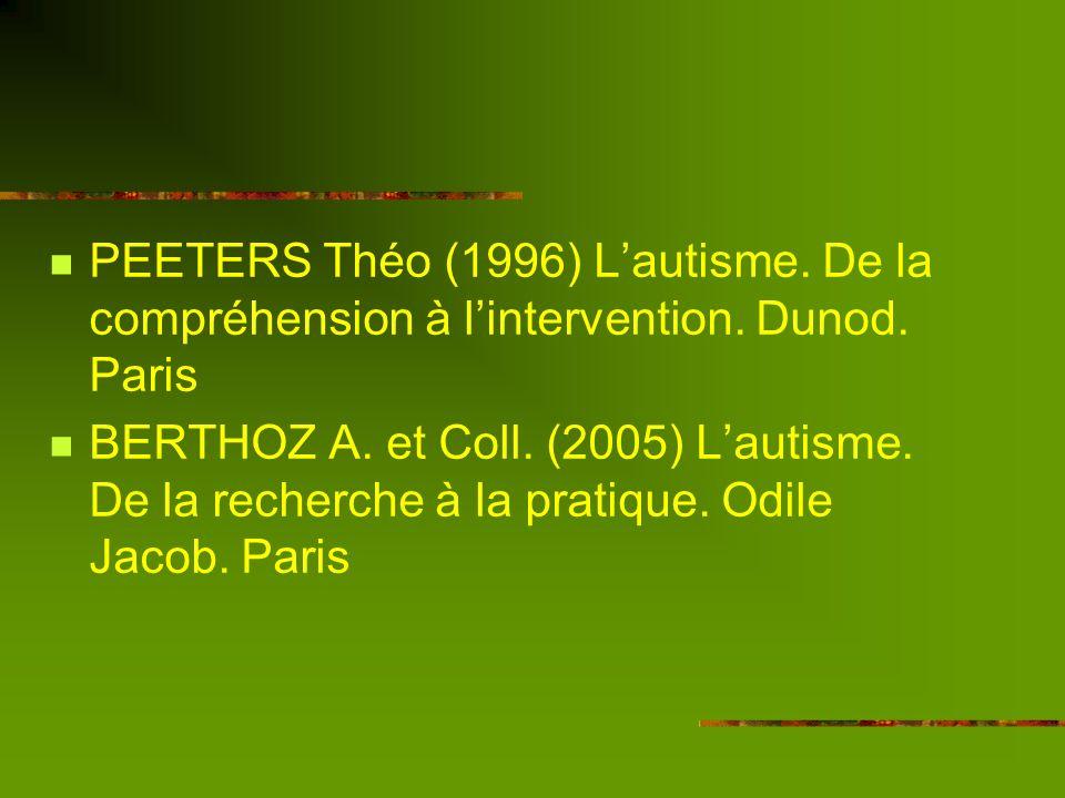 Bibliographie LAXER Gloria (2002) De léducation des autistes déficitaires, Erès, Ramonville St Agne. MESIBOV Gary B. (1995) Autisme : le défi du progr