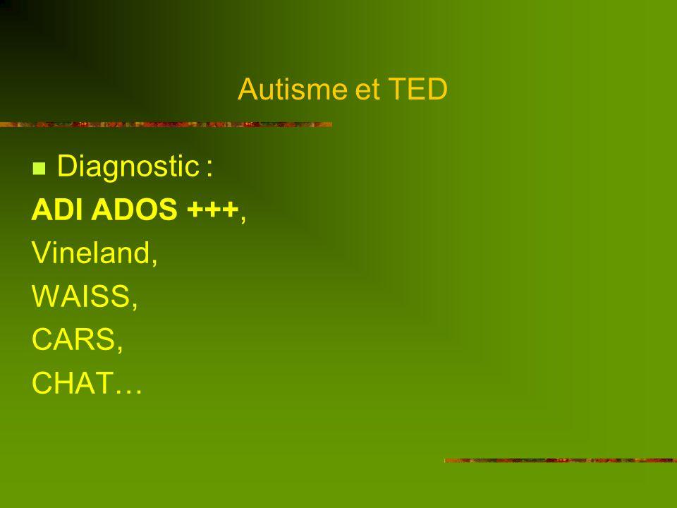 Autisme et TED Lautisme, un continuum Autisme déficitaire AspergerAutisme haut niveau QI < 50-70 QI moyen QI > 100