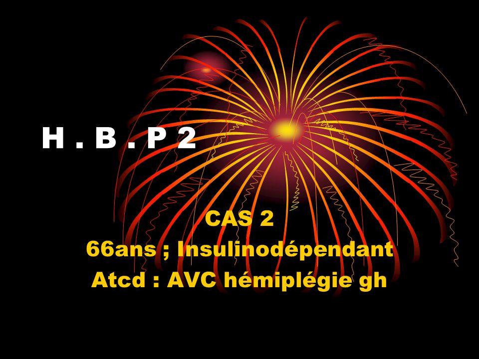 H. B. P 2 CAS 2 66ans ; Insulinodépendant Atcd : AVC hémiplégie gh