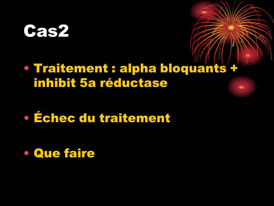 Cas2 Traitement : alpha bloquants + inhibit 5a réductase Échec du traitement Que faire