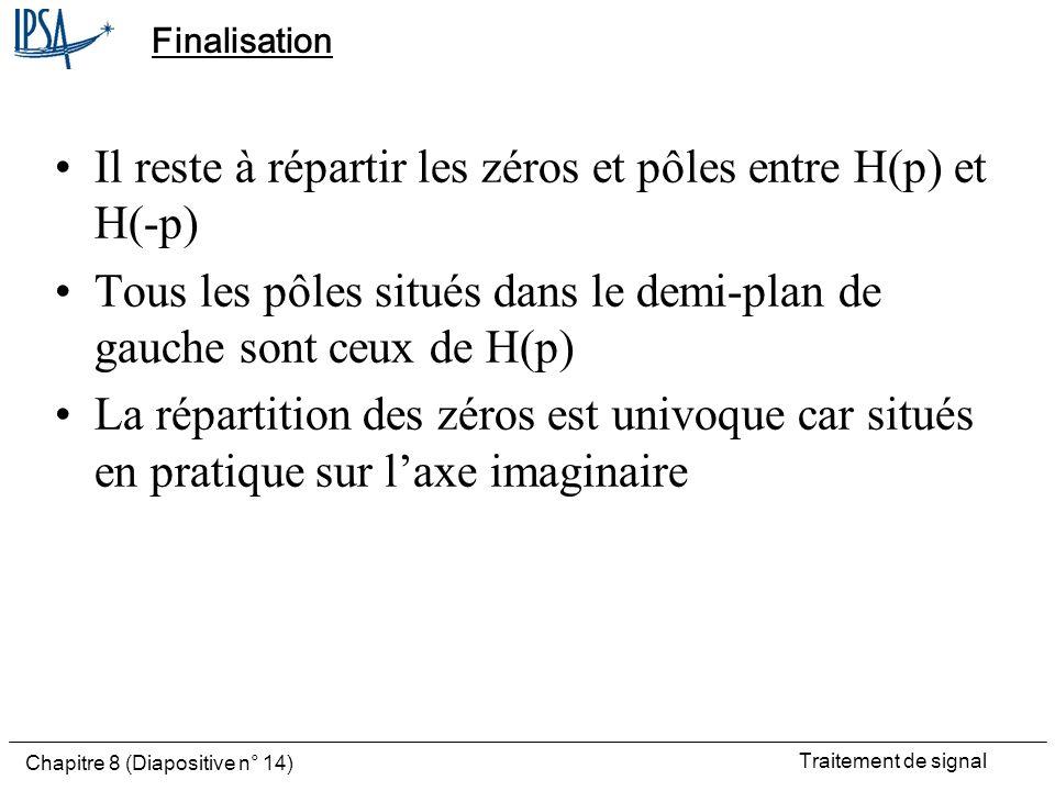 Traitement de signal Chapitre 8 (Diapositive n° 14) Finalisation Il reste à répartir les zéros et pôles entre H(p) et H(-p) Tous les pôles situés dans
