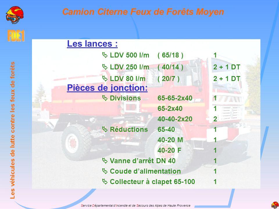 Service Départemental dIncendie et de Secours des Alpes de Haute Provence Les lances : LDV 500 l/m( 65/18 )1 LDV 250 l/m( 40/14 )2 + 1 DT LDV 80 l/m(