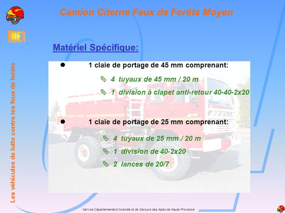 Service Départemental dIncendie et de Secours des Alpes de Haute Provence Matériel Spécifique: 1 claie de portage de 45 mm comprenant: 4 tuyaux de 45