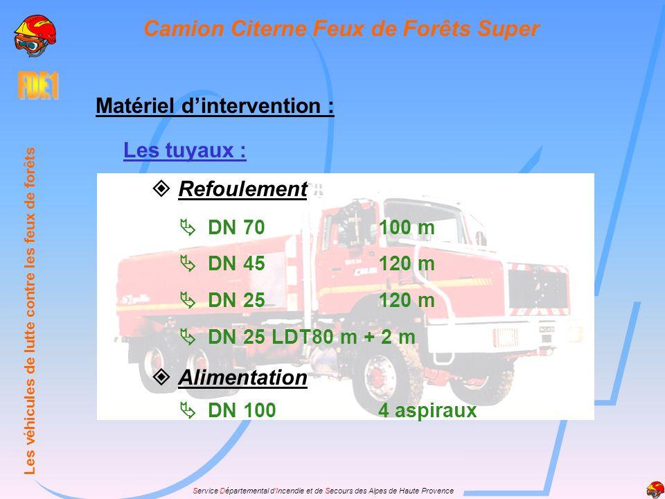 Service Départemental dIncendie et de Secours des Alpes de Haute Provence Matériel dintervention : Les tuyaux : Refoulement DN 70100 m DN 45120 m DN 2