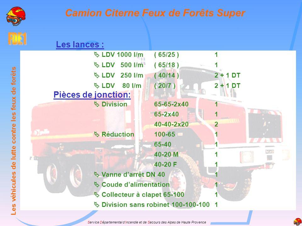 Service Départemental dIncendie et de Secours des Alpes de Haute Provence Les lances : LDV 1000 l/m( 65/25 )1 LDV 500 l/m( 65/18 )1 LDV 250 l/m( 40/14