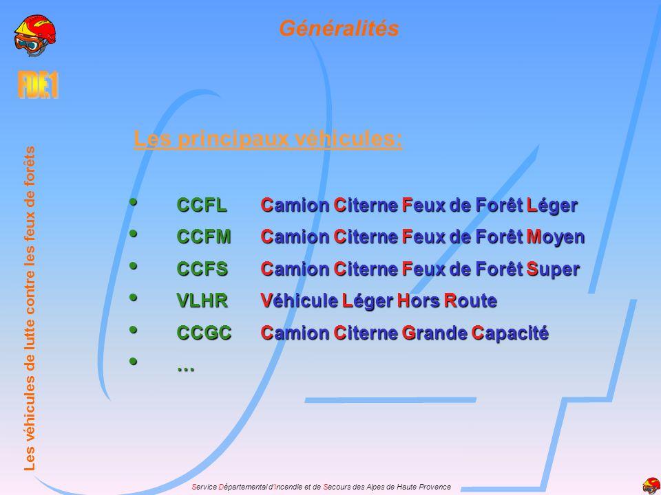 Service Départemental dIncendie et de Secours des Alpes de Haute Provence Généralités CCFLCamion Citerne Feux de Forêt Léger CCFLCamion Citerne Feux d