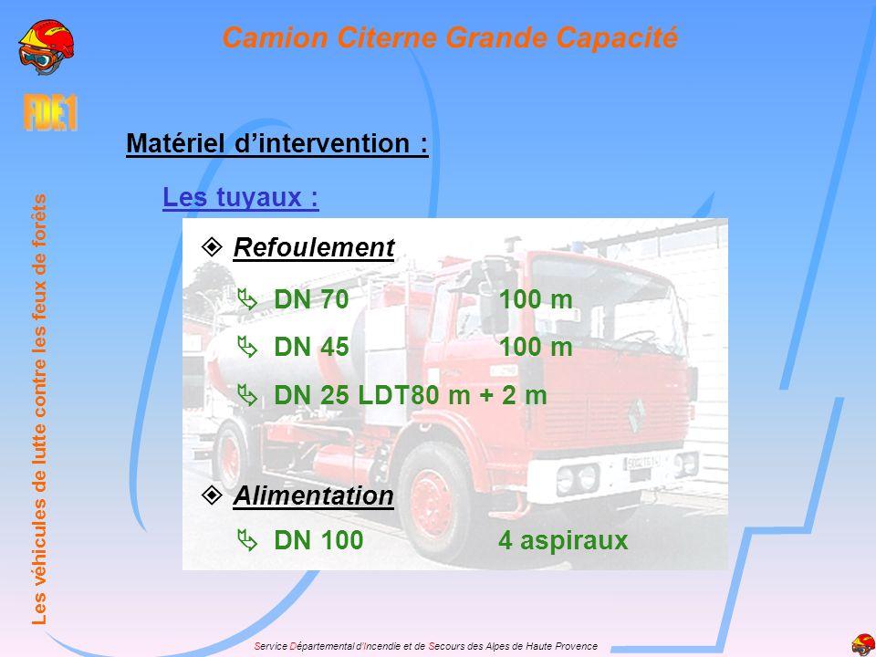 Service Départemental dIncendie et de Secours des Alpes de Haute Provence Matériel dintervention : Les tuyaux : Refoulement DN 70100 m DN 45100 m DN 2