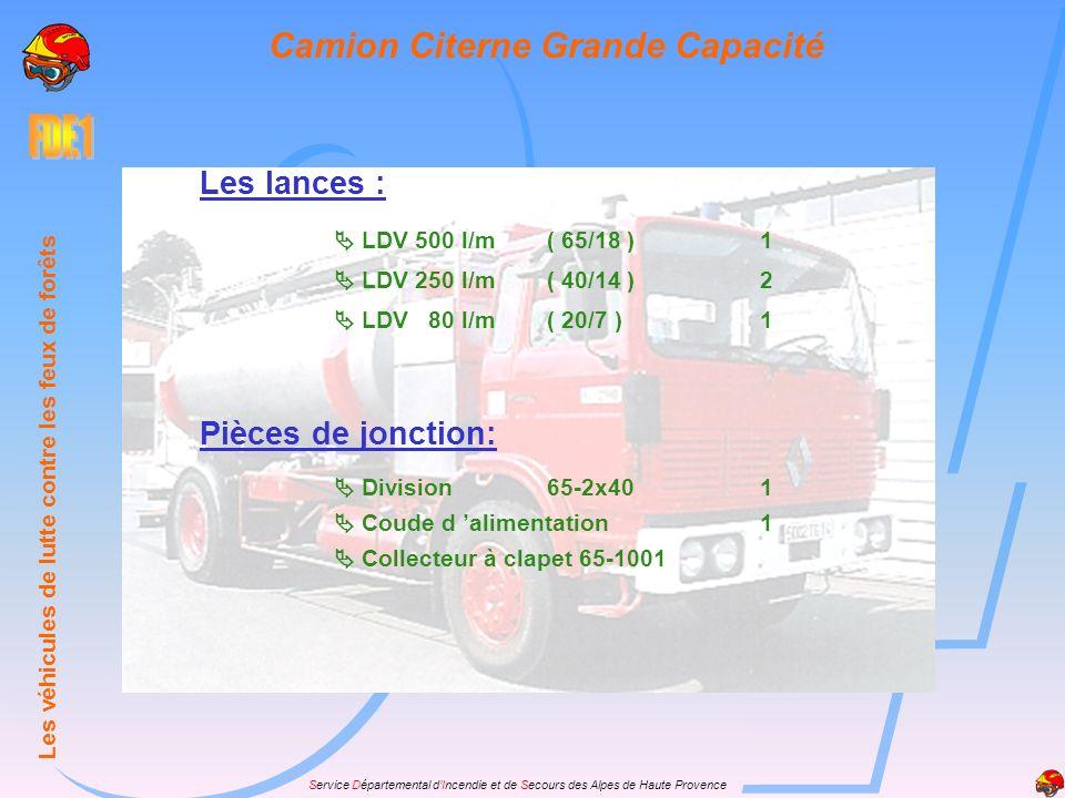 Service Départemental dIncendie et de Secours des Alpes de Haute Provence Les lances : LDV 500 l/m( 65/18 )1 LDV 250 l/m( 40/14 )2 LDV 80 l/m( 20/7 )1