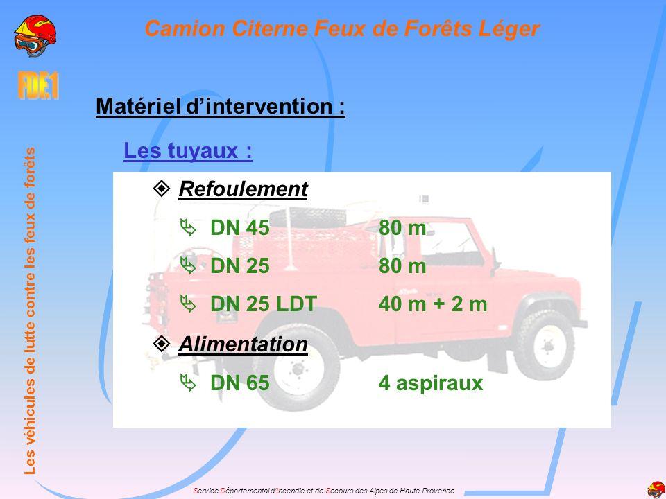 Service Départemental dIncendie et de Secours des Alpes de Haute Provence Les lances : LDV 250 l/m( 40/14 )1 LDV 80 l/m( 20/7 )1 + 1 DT Pièces de jonction: a Division 40-40-2x201 Coude dalimentation1 Réduction65-401 40-20 M1 40-20 F1 Les véhicules de lutte contre les feux de forêts Camion Citerne Feux de Forêts Léger