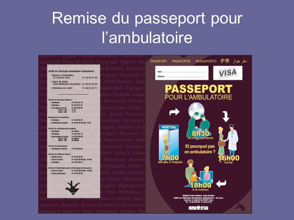 Remise du passeport pour lambulatoire