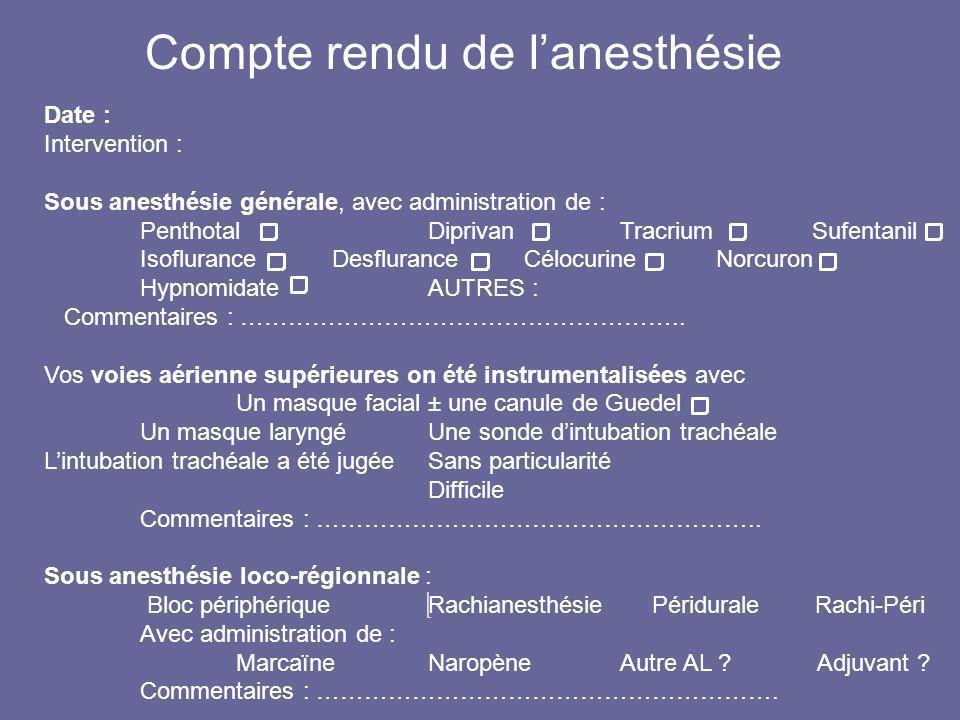 Date : Intervention : Sous anesthésie générale, avec administration de : PenthotalDiprivanTracriumSufentanil IsofluranceDesfluranceCélocurineNorcuron