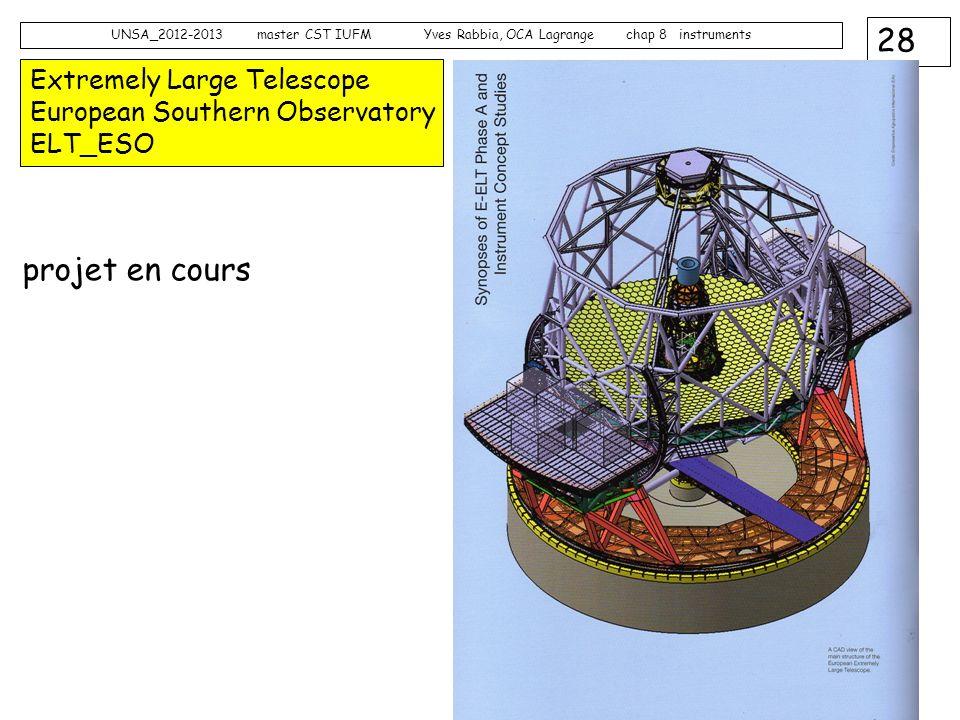 28 UNSA_2012-2013 master CST IUFM Yves Rabbia, OCA Lagrange chap 8 instruments Extremely Large Telescope European Southern Observatory ELT_ESO projet