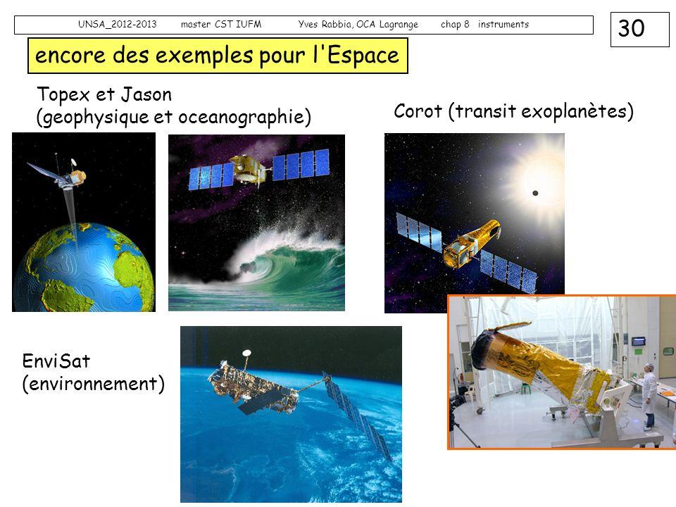 30 UNSA_2012-2013 master CST IUFM Yves Rabbia, OCA Lagrange chap 8 instruments encore des exemples pour l'Espace Corot (transit exoplanètes) Topex et