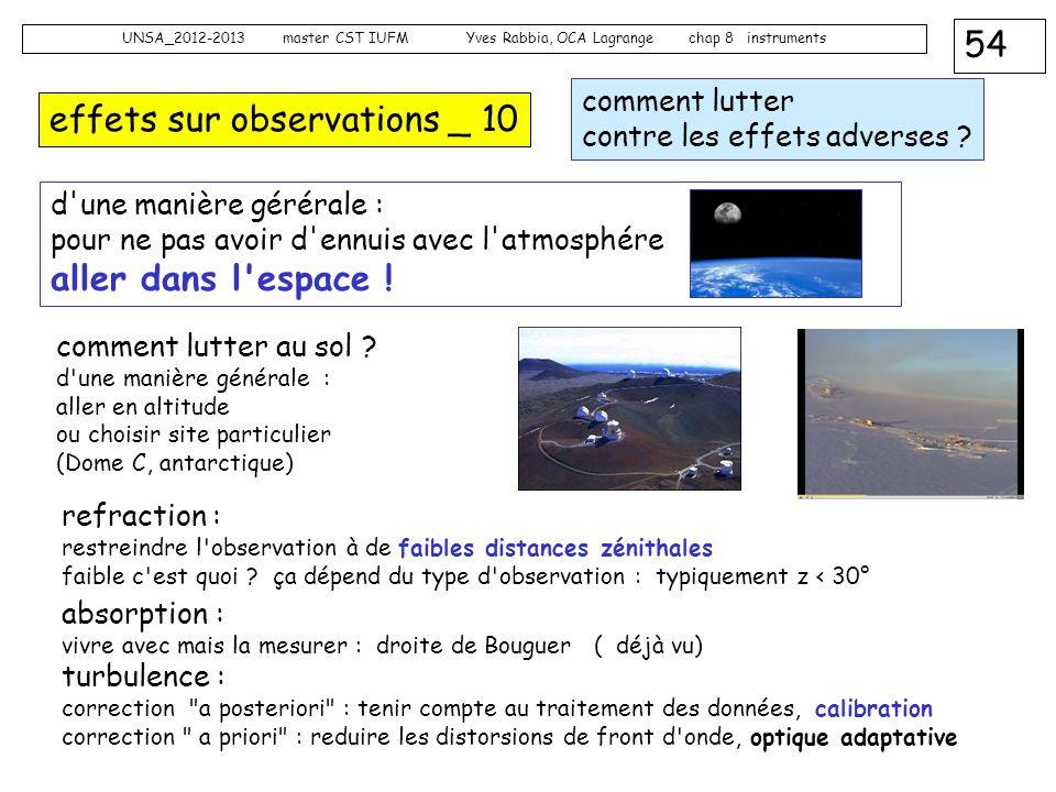 54 UNSA_2012-2013 master CST IUFM Yves Rabbia, OCA Lagrange chap 8 instruments effets sur observations _ 10 d'une manière gérérale : pour ne pas avoir