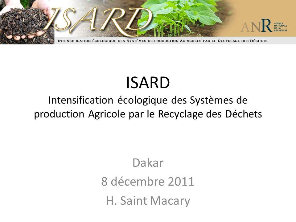 ISARD Intensification écologique des Systèmes de production Agricole par le Recyclage des Déchets Dakar 8 décembre 2011 H. Saint Macary