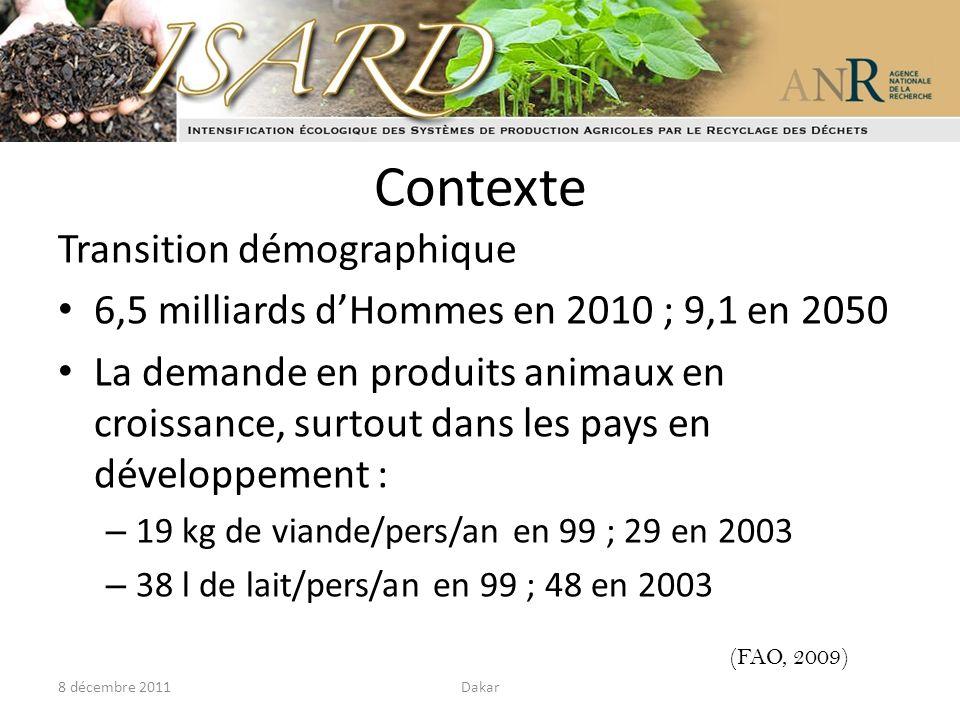 Contexte Transition démographique 6,5 milliards dHommes en 2010 ; 9,1 en 2050 La demande en produits animaux en croissance, surtout dans les pays en d