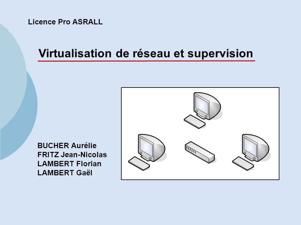 1 Licence Pro ASRALL Virtualisation de réseau et supervision BUCHER Aurélie FRITZ Jean-Nicolas LAMBERT Florian LAMBERT Gaël