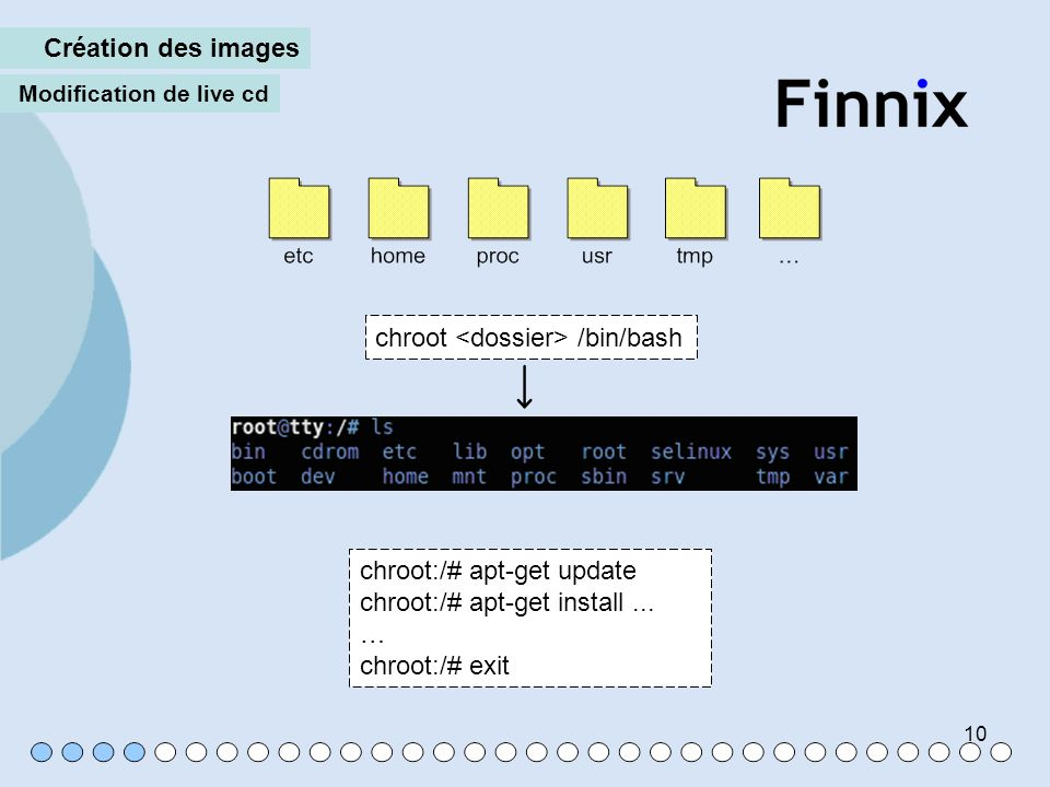 10 Création des images Modification de live cd chroot /bin/bash chroot:/# apt-get update chroot:/# apt-get install... … chroot:/# exit